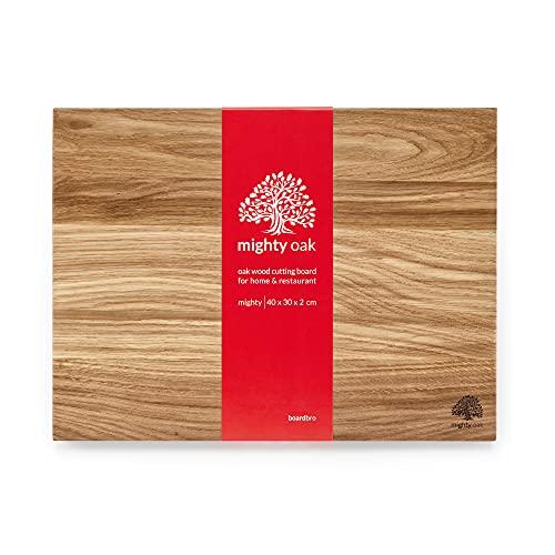Mighty Oak Massivholz Eiche Schneidebrett von boardbro   40 x 30 x 2 cm   Großes Eichenholz Schneidebrett für die Küche
