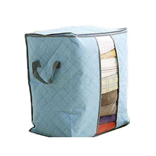 Vovotrade Boîte de Rangement Boîte Non Tissée Grandes Vêtements Literie Duvet Oreillers Zippés (Bleu)
