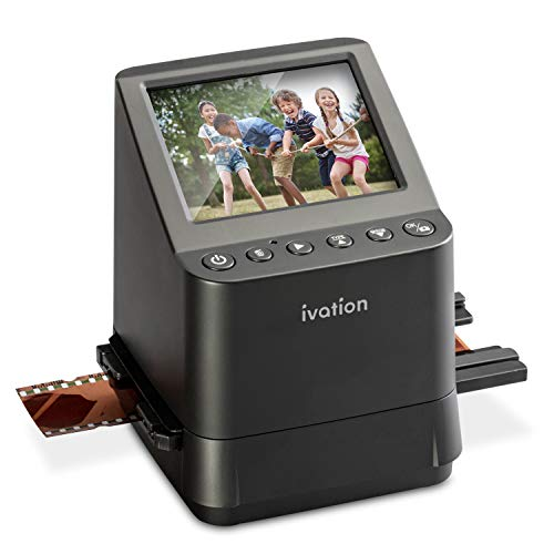 "Ivation High Resolution 23MP Film Scanner Converts 135, 110, 126, Black and White, Films Slides and Negatives into Digital Photos, Vibrant 3.5"" 3.5"" Color LCD Display, Easy Quick Load Film Inserts"