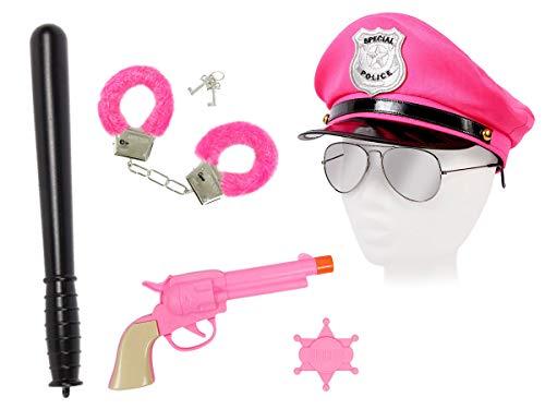 Alsino XXL Damen Polizei Set Uniform (Kv-116) mit Pilotenbrille, Plüschhandschellen, Schlagstock, Pistole und Polizeimütze
