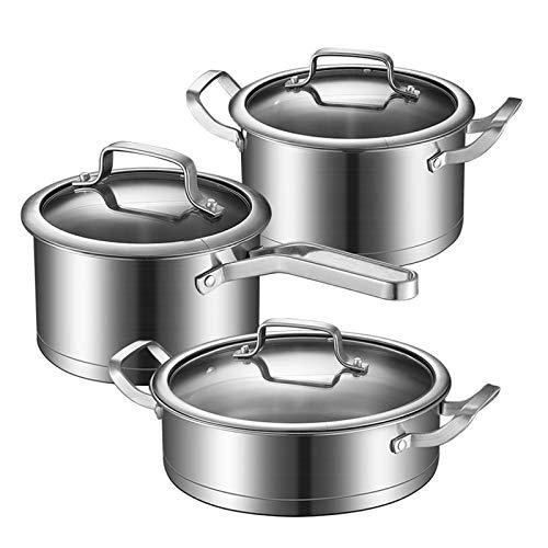 Aohuada Batería de cocina de 5 piezas, olla universal con tapa de cristal, acero inoxidable 430, olla de acero inoxidable y fácil de limpiar.