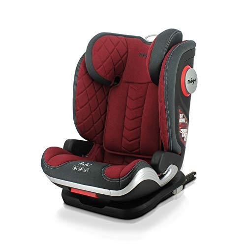 Silla de coche i-Size RAFAL 100-150 cm con protección lateral y asiento reclinable (rojo)