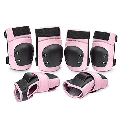 Everwell Protektoren Set, 6 in 1 Profi Schutzausrüstung für Kinder & Erwachsene - Verstellbar Knieschoner Ellenbogenschützer Handgelenkschoner für Inliner Skaten Roller Skateboard (S, Pink)