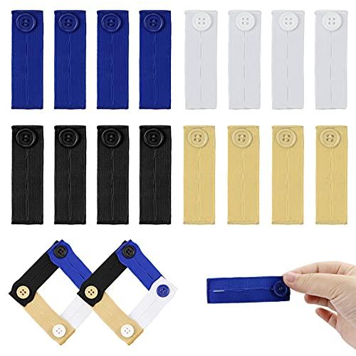 TKOnline 16 Pcs Elastic Waist Extenders, Premium Button Extender for Pants, Khakis and Jeans, Suitable for Both Men and Women, 4 Colors