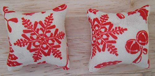 1/12Scala Bambole Casa Tessuto Stampato Cuscini Di Natale: Natale Presenta Design In Crema E Rosso