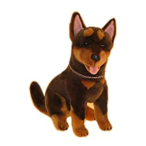 Bocchetta Plush Toys Australian Kelpie Soft Plush Toy Sitting - Quinn Small Brown 1