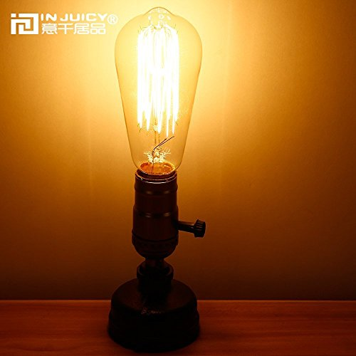 IJ INJUICY Retro Loft Rustic Vintage Industrial Steampunk Wrought Iron Edison Bulb Table Lights E27 Led Water Pipe Desk Lamps Bedside Living Room Bedroom Home Decor