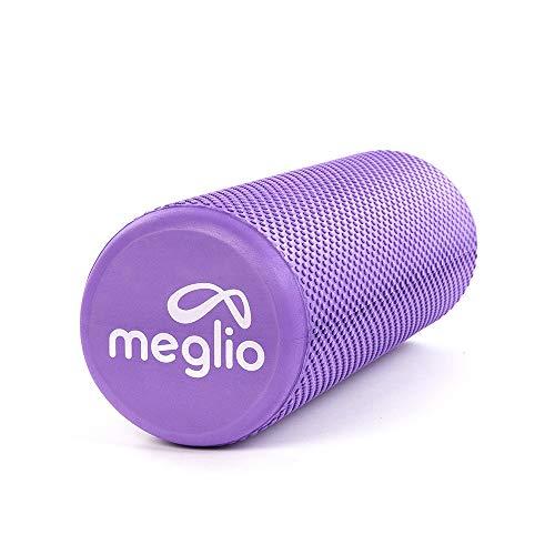 MEGLIO Rodillo de Masaje de Alta Densidad (45cm). Ideal para Masajes y Liberación Miofascial Fitness, Yoga, Pilates. Color Púrpura con guía de Ejercicio Gratis