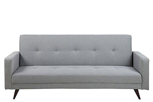 lifestyle4living Schlafsofa in Grau, 3-Sitzer Sofa mit Schlaffunktion, Web-Stoff, Knopfsteppung, Holz-Beine | Gemütliche Couch in modernem Design