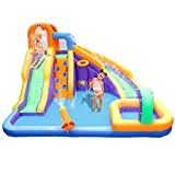 BESTPARTY Inflatable Water Slide, Kids Playing Fun Splash Water Park, Bounce House Jumper with Blower