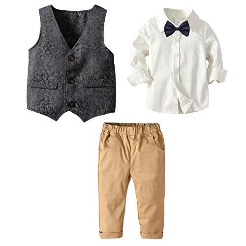Echinodon [Bekleidungsset Junge Festlich Hemd mit Fliege + Weste + Hose Kinder Gentleman Set Baby Taufe Anzug 100