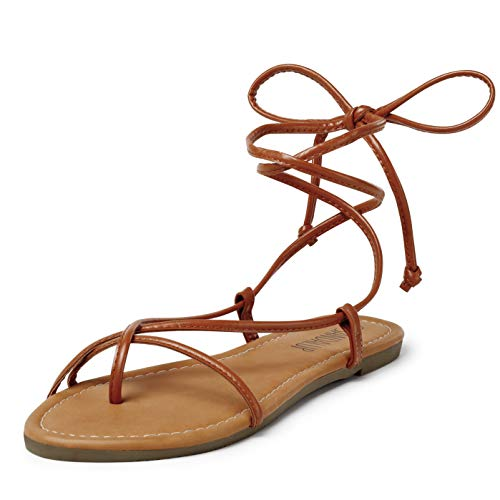 SANDALUP Lace up Sandals Tie up Dress Summer Flat Sandals for Women Brown 06