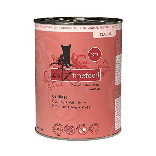 catz finefood N° 3 Geflügel Feinkost Katzenfutter nass, verfeinert mit Preiselbeeren & Löwenzahn, 6 x 400g Dosen