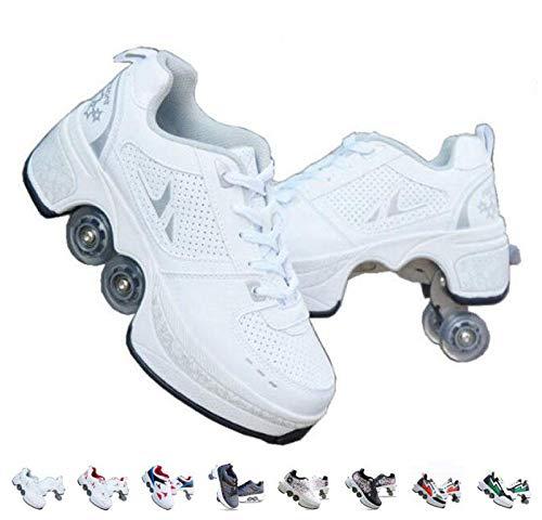 KYOKIM Patins A roulettes,Rollers en Ligne pour Enfants,Rollers Quad,Chaussures Sport Fille,Kick Roller Shoe,White-39