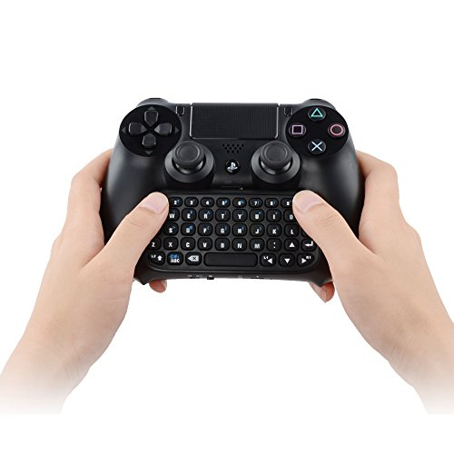 Megadream PS4 Wireless Mini tastiera Bluetooth ricaricabile Chatpad Gamepad con 3,5 mm Live Chat Headset Audio Jack Porta di connessione per Sony Playstation 4 DualShock Controller Nero