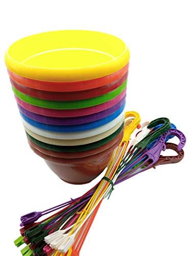 MURGIPLAST Vasi da appendere in plastica per piante e fiori, vasetti e ganci da giardino, vasi e ciondoli colorati, 12 pezzi (medio)