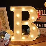 WHATOOK Letras Luminosas Decorativas con Luces LED, con temporizador inalámbrico y mando a distancia regulable, decoración para cumpleaños, fiestas, bodas y vacaciones, casa, bar, Blanco - Letra B