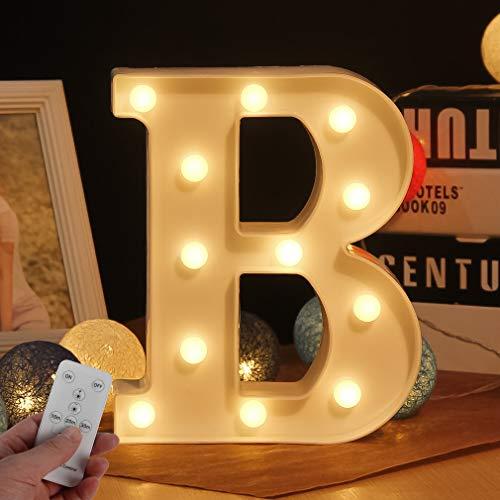 Brief Lichter LED Festzelt Buchstaben Lichter mit Fernbedienung Kunststoff Festzelt Tischlampen batteriebetrieben für Hochzeit Weihnachten, Wohnkultur Bar Party Wandbehang Dekor Zeichen (WHATOOK)