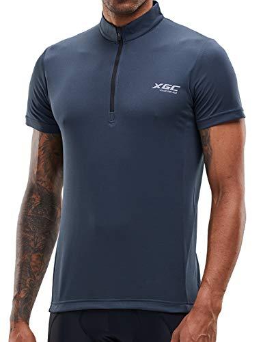Herren Kurzarm Radtrikot Fahrradtrikot Fahrradbekleidung für Männer mit Elastische Atmungsaktive Schnell Trocknen Stoff (Grey, XXL)