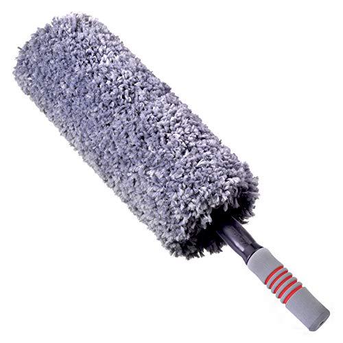 Ausziehbarer Mikrofaser Staubwedels, Armaturenbrett-Staubwedels Innenausstattung des Autos Bürstenfusselfreie Mikrofasertücher,Grau
