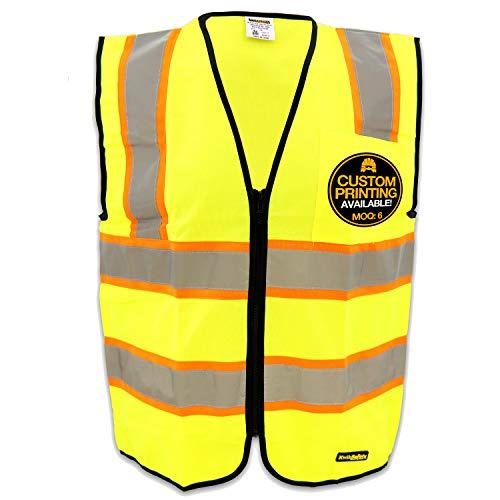 kwiksafety clase 2contraste construcción chaleco de seguridad | Hi Vis Amarillo, Heavy Duty cremallera y pecho pocket| Hombres Mujeres Alta Visibilidad ANSI motocicleta construcción seguridad ropa de trabajo