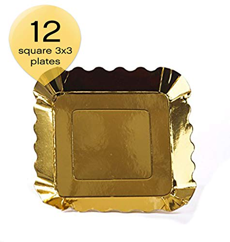 Simply Baked Small Paper Appetizer Plate, 3' Square, Metallic Gold