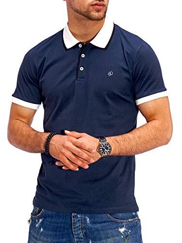 JACK & JONES Herren Poloshirt Polohemd Kurzarmshirt Shirt Top Business Hemd (L, Total Eclipse)