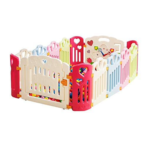 Find Discount Playpen Baby Plastic Playpen with Colorful Panels Foldable Portable Room Divider Child...