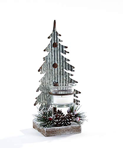 Giftcraft 663284 Christmas Tree Candle Holder, 9.5-inch High