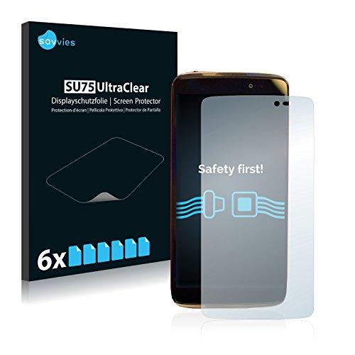 Savvies 6X Schutzfolie kompatibel mit Alcatel One Touch Idol 3C Bildschirmschutz-Folie Ultra-transparent