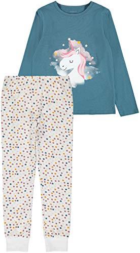 NAME IT Mädchen Nkfnightset Real Teal Unicorn Noos Pyjamaset, 146-152 (2er Pack)