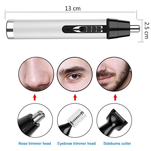 Ear and Nose Hair Trimmer for Men,Professional USB Rechargeable Nostril Nasal Hair Vacuum Cleaning System,4 in 1 Lightweight Waterproof Hair and Beard Clippers for Women (White)