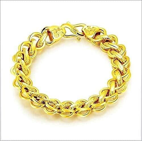 AMOZ Pulsera de Cadena de Oro de 18 Quilates Ancho 8.5 10 12Mm Joyería de Moda Pulseras Amarillas Reales de 18 Quilates Cadena de Longitud Hip Hop Cierre Sólido Real para Hombres (Color: Ancho: 12 Mm