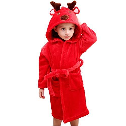 LuckyBaby Accappatoi per Bambini, Soffice Vestaglia,Accappatoio con Cappuccio in Morbida Spugna, 100% Traspirante, per Bambino e Bambina (Rosso, M = 115 cm (3-5 Anni))