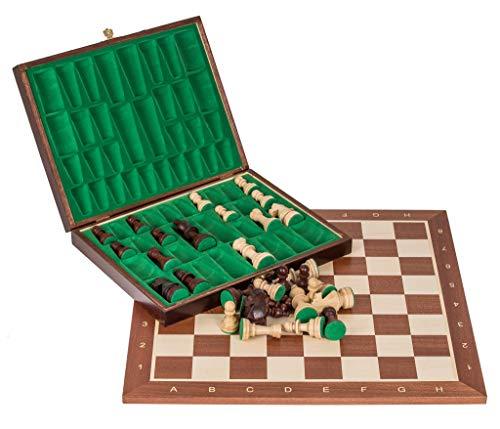 Square - Pro Schach Set Nr. 5 - Mahagoni LUX - Schachbrett + Schachfiguren Staunton 5 + Kasten - Schachspiel aus Holz