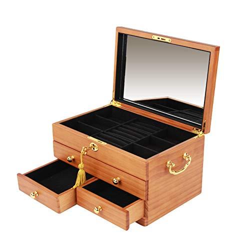 Caja de almacenamiento multifuncional de 3 capas de espejo de madera grande