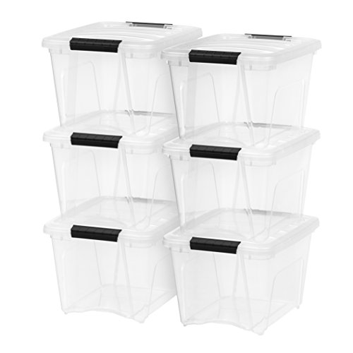 IRIS USA TB-17 Stack & Pull Box, 19 Quart, Clear, 6 Pack