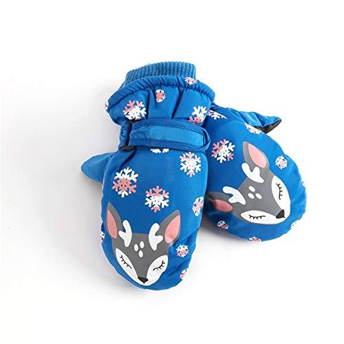 CNZXCO 2ST Kinderschi Cartoon Handschuhe Winter warm Jungen und Mädchen wasserdichte Baby im Freien Spielen Schnee Winter (Color : Fox Blue, Size : 5-10 Years Old)