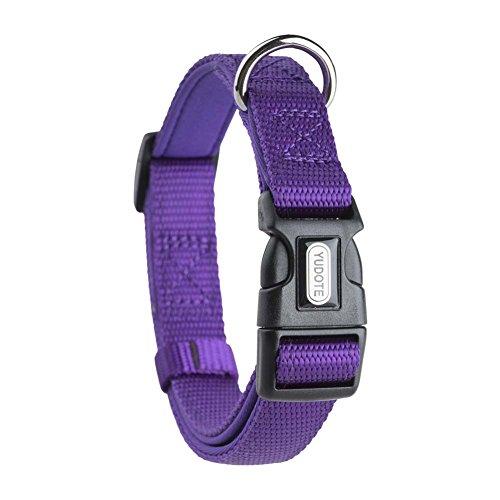 YUDOTE Adjustable Nylon Dog Collar with Soft Neoprene Padding for Medium Sized Dogs Neck 30-47cm Purple