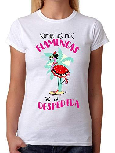 FUNNY CUP Camiseta Somos Las Más Flamencas de la Despedida. Despedia de Soltera parar Amigas o Novia (XL, Clasica)