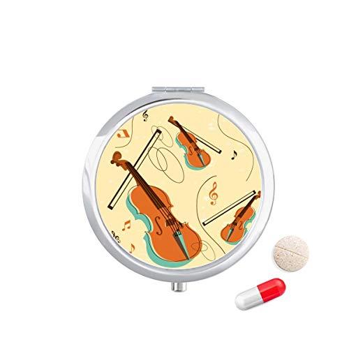 DIYthinker Viool Muziek Instrumenten Patroon Reizen Pocket Pill Case Medicine Drug Opbergdoos Dispenser Spiegel Gift
