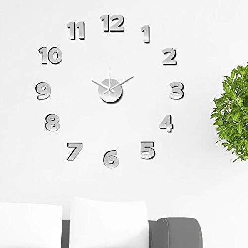 Dcasa Adhesivo Aluminio Pared Relojes de Chimenea Decoración del hogar Unisex Adulto, Color, única