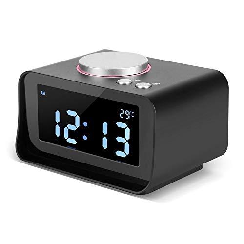 Liukouu Reloj Despertador Digital, Reloj Despertador LCD Digital Radio FM con función de Altavoz + Puertos de Carga USB Dobles