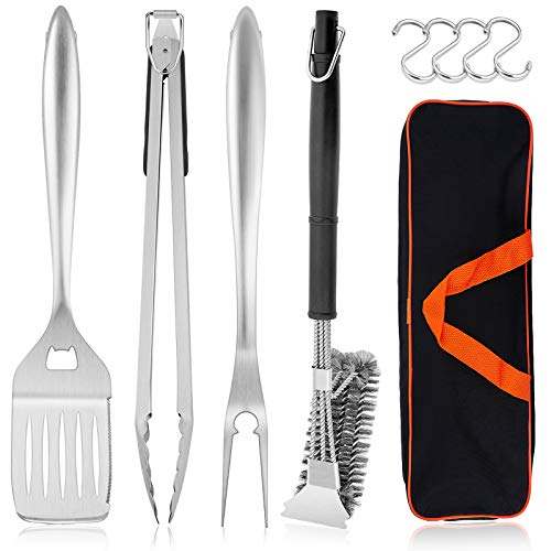 HaSteeL Grilling Utensil Set 18in, Stainless Steel BBQ Accessories Tools with Bag for Outdoor Cooking Camping, Heavy Duty Grill Spatula, Tong, Meat Fork, Basting Brush, Cleaning Brush, Man's Gift