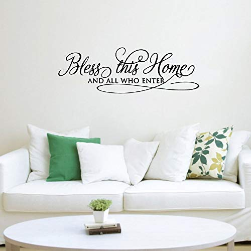 Dibujos animados bendice este hogar etiqueta de la pared decoración pegatina decoración del hogar decoración del dormitorio decoración de la fiesta familiar papel tapiz A3 43x13cm