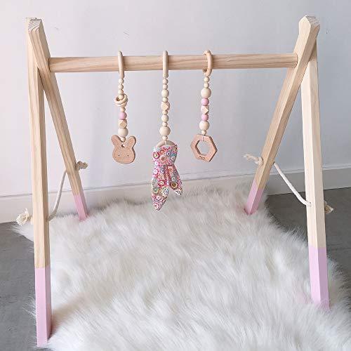 Caudblor Spieltrapez holz Babyspielzeug Puzzle gym inkl. Anhänger Babygymnastik aktiv Spielzeug Babyzimmer Kinderzimmer Dekoration (Rosa)
