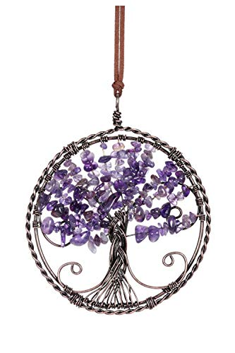 CrystalTears Amethyst Tree Of Life Hanging Ornament Natural Reiki Healing Crystal Gemstone Wall Car Hanging Window Ornament for Home Office Decoration Meditation Good Luck