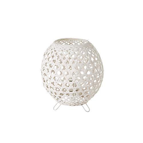 Lámpara de mesa de rejilla shabby chic de bambú y metal blanca, de ø 20x23 cm - LOLAhome