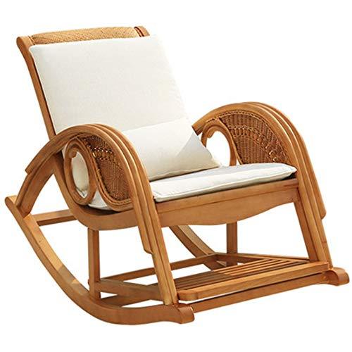 SuDeLLong Silla Mecedora Silla de Mimbre sillón reclinable Adulto ratán Mecedora sillón casero Siesta Anciano Silla de balcón Ocio Ocio Silla de Madera Maciza Sillas de balancín de Ocio