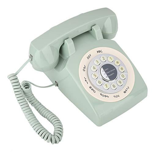 Weikeya Teléfono de casa Verde, Hecha de Sistema de contestador de teléfono de teléfono Fijo LiNline Mirste Retro ABS